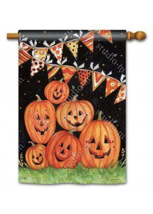 Party Time Pumpkins House Flag | Halloween Flags | Fall Flags | Yard Flag