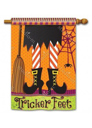 Tricker Feet House Flag | Halloween Flags | Double Sided Flag | Yard Flag