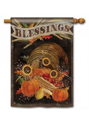 Cornucopia Blessings House Flag | Thanksgiving Flags | Fall Flags | Flags