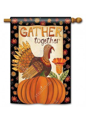 Gather Together House Flag | Thanksgiving Flags | Yard Flags | Cool Flags
