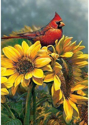 Sunflower Cardinal Flag | Bird Flags | Floral Flags | Fall Flags | Yard Flags