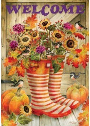 Welcome Fall Boots Flag | Fall Flags | Floral Flags | Double Sided Flags