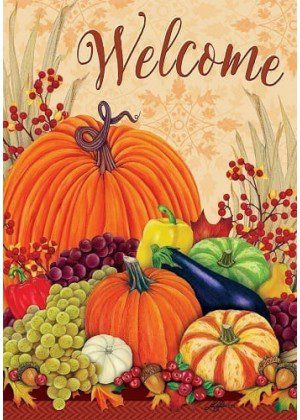 Welcome Pumpkins and Gourds Flag | Thanksgiving Flags | Fall Flags