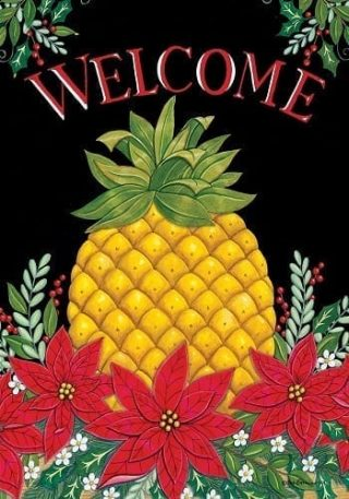 Welcome Christmas Pineapple Flag | Christmas Flags | Two Sided Flags