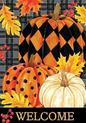 Painted Pumpkins Welcome Flag | Thanksgiving Flags | Two Sided Flags