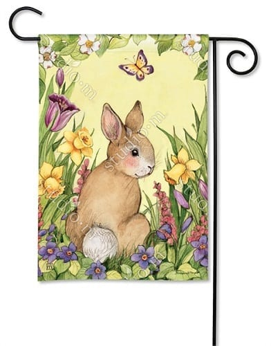 Springtime Bunny Garden Flag | Decorative Garden Flags | Garden House Flags
