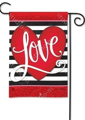 Heart with Stripe Garden Flag | Valentine's Day Flags | Yard Flags | Flags