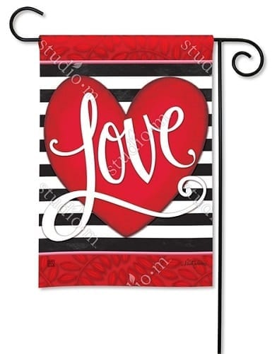 Heart with Stripe Flag | Decorative Garden Flags | Garden House Flags