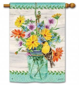 Goldfinch on Jar House Flag | Bird Flags | Floral Flags | Yard Flags