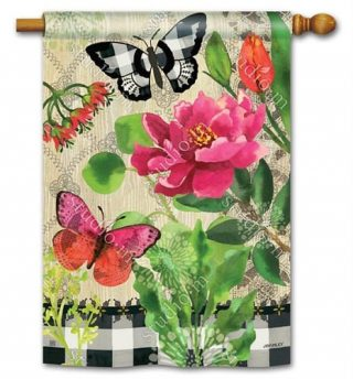 Butterflies in Check House Flag | Floral Flags | Yard Flags | Cool Flags