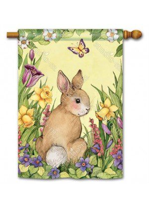 Springtime Bunny House Flag | Easter Flags | Spring Flags | Yard Flags