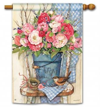 Bucket Full of Peonies House Flag | Floral Flags | Bird Flags | Yard Flags