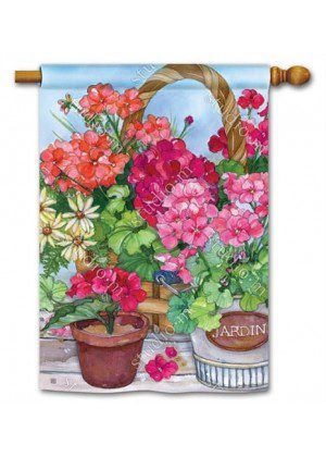 Geranium Variety House Flag | Floral Flags | Spring Flags | Yard Flags
