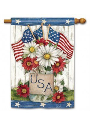USA Mason Jar House Flag | Patriotic Flags | 4th of July Flags | Yard Flags