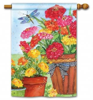 Marigolds and Zinnias House Flag | Spring Flags | Floral Flags | Yard Flags