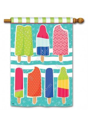 Ice Cream and Popsicles House Flag | Yard Flags | Summer Flags