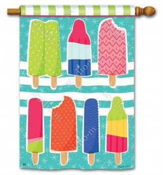 Ice Cream and Popsicles House Flag   Yard Flags   Summer Flags
