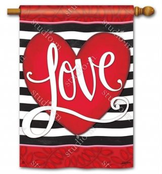 Heart with Stripe House Flag | Valentine's Day Flags | Yard Flags | Flags