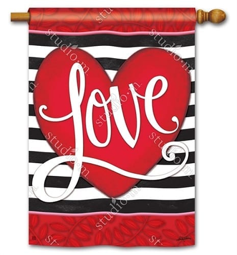 Heart with Stripe Flag | Decorative Flag | House Flag | Garden House Flag