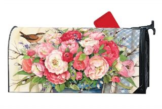 Bucket Full of Peonies Mailbox Cover | Mailwraps | Mailbox Covers