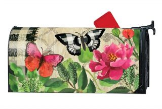 Butterflies in Check Mailbox Cover | Decorative Mailwraps | Mailbox Cover