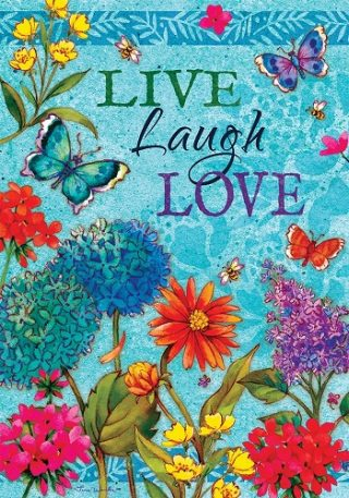 Floral Live Laugh Love Flag | Inspirational Flags | Double Sided Flags