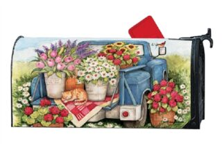 Flower Picking Time Mailbox Cover | Decorative Mailwraps | Mailbox Cover