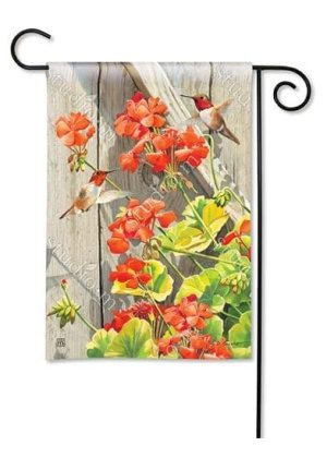 Hummingbirds with Geraniums Flag | Garden Flags | Garden House Flags