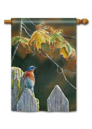Garden Gate Bluebird House Flag | Fall Flags | Bird Flags | Yard Flags