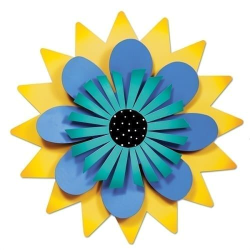 Blue and Aqua Flower on Yellow Outdoor Kinetic Art