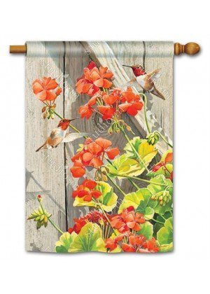Hummingbirds with Geraniums House Flag | Bird Flags | Floral Flags
