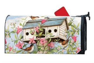 Spring Birdhouse with Clematis Mailbox Cover | MailWraps | Mailbox Cover