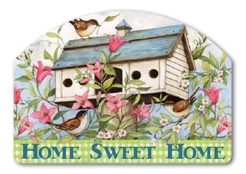 Spring Birdhouse with Clematis Yard Sign | Yard Sign | Garden House Flag