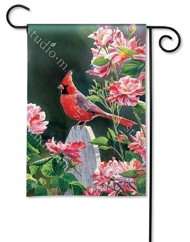 Cardinal with Variegated Roses Flag | Garden Flags | Garden House Flags