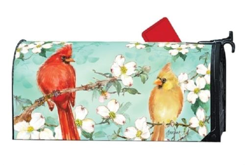 Cardinals in Spring Mailbox Cover   Mailwraps   Garden House Flags