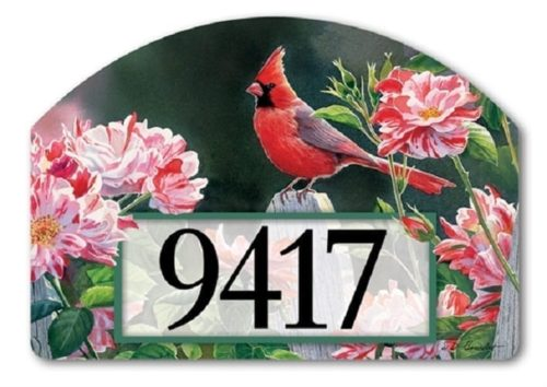 Cardinal with Variegated Roses Yard Sign | Yard Sign | Garden House Flag