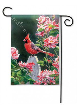 Cardinal with Variegated Roses Garden Flag | Floral Flags | Bird Flags