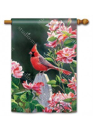 Cardinal with Variegated Roses House Flag | Bird Flags | Floral Flags
