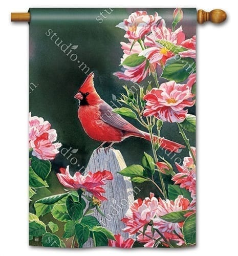 Cardinal with Variegated Roses House Flag