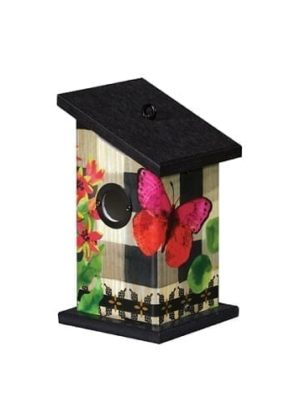 Butterfly in Check Wren Birdhouse | Birdhouses | Garden House Flags