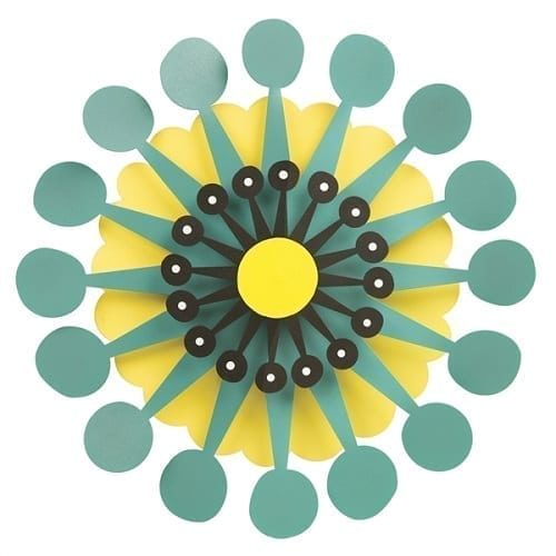 Teal Burst on Citron Petals by Outdoor Kinetic Art
