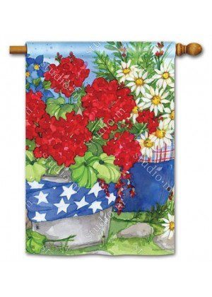 Patriotic Floral House Flag | Patriotic Flags | 4th of July Flags | Yard Flags