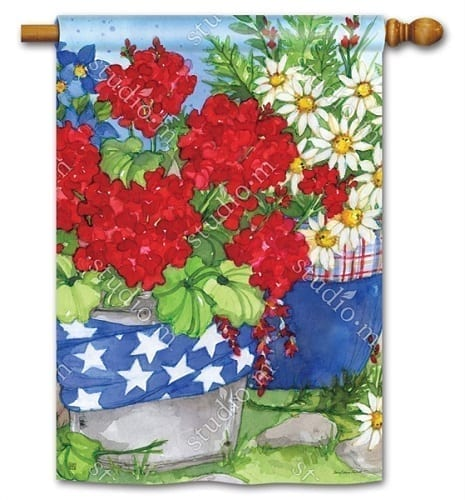 Patriotic Floral House Flag | House Flags | Decorative Flags | Garden House Flags