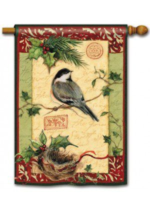 Holiday Chickadee House Flag | Christmas Flags | Holiday Flags | Flags