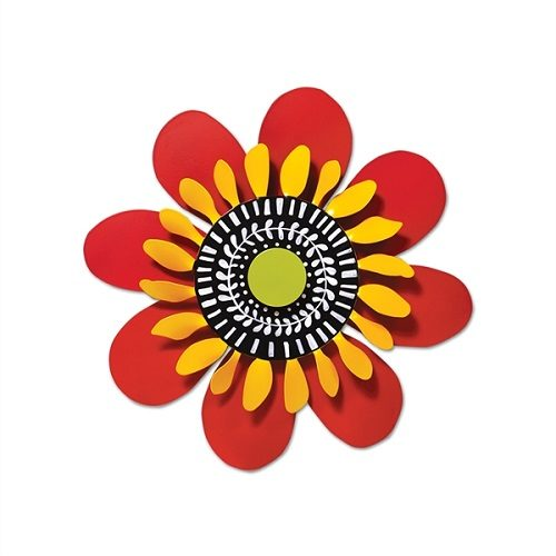 Red and Yellow Flower Kinetic Art | Garden Decor | Garden House Flags
