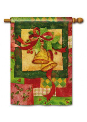 Patchwork Bells House Flag | Christmas Flags | Yard Flags | Cool Flags