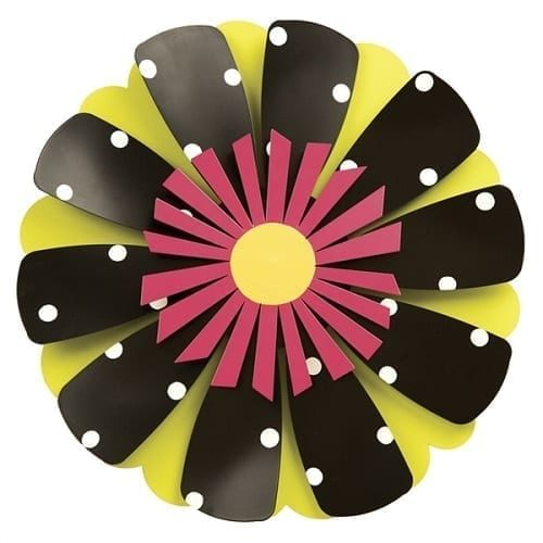 Pink Flower on Black/White Dots Outdoor Kinetic Art