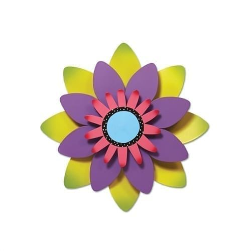Green and Purple Flower Outdoor Kinetic Art