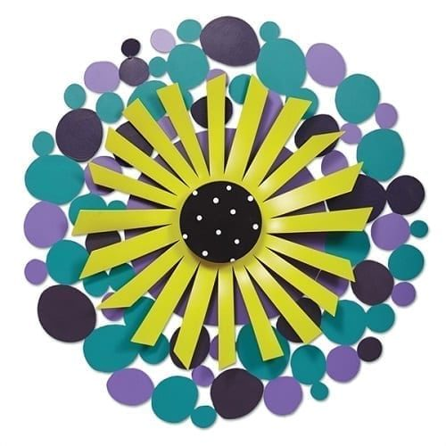 Purple Dots with Green Flower Outdoor Kinetic Art