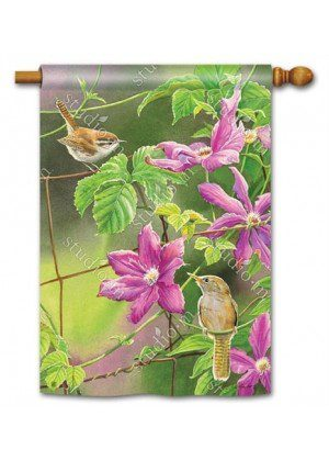 Wren with Purple Clematis Flag | Decorative Flags | Garden House Flag